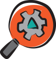 Illustrated magnifying glass icon