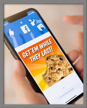 Digital ad on a mobile device for cookies that read Get em while they last!